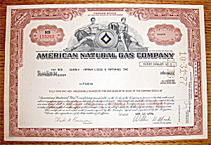 1976 American Natural Gas Company Stock Certificate (Image1)
