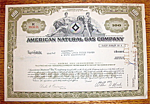 1975 American Natural Gas Company Stock Certificate (Image1)