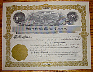 1920's Silver Creek Mining Company Stock Certificate (Image1)