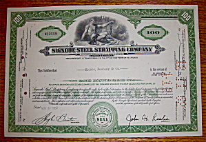 1962 Signode Steel Strapping Company Stock Certificate (Image1)
