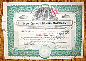 1920's New Quincy Mining Company Stock Certificate (Image1)