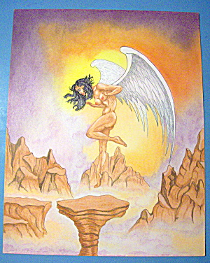 Angel On The Wing - Original Nude Fantasy Drawing
