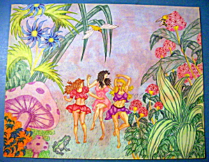Dansers In The Garden - Original Nude Fantasy Drawing