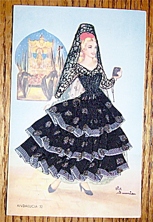 Andalucia Postcard-Fabric Overlay-Spanish Woman (Image1)
