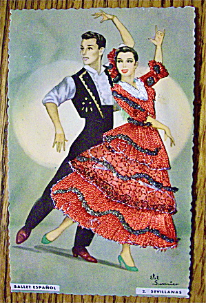 Ballet Espanol Postcard-Fabric Overlay-2. Sevillanas (Image1)