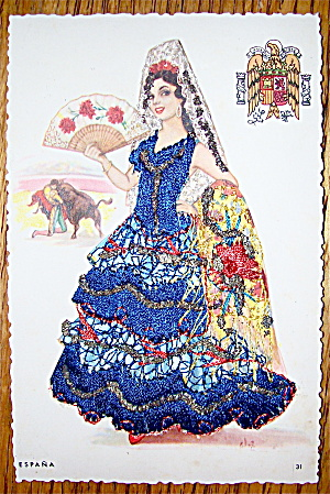 Espana Postcard-fabric Overlay-lovely Senorita
