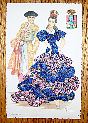 Andalucia Postcard-Fabric Overlay-Spanish Woman & Man (Image1)