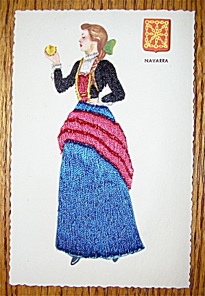 Navarra Postcard-thread Sewn-lovely Woman