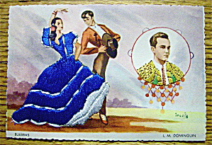 Bulerias Postcard-Fabric Overlay-Man & Woman Dancing (Image1)
