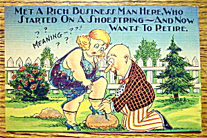 A Man Tying A Woman's Shoe Postcard