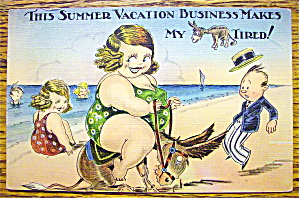 A Woman Riding A Donkey On A Beach Postcard