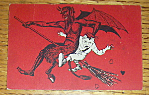 Satan Flying On Broom Postcard