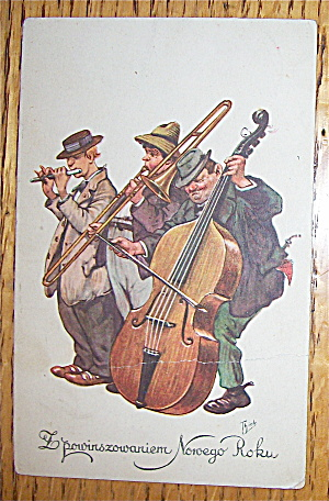 Three Men Playing Instruments Postcard