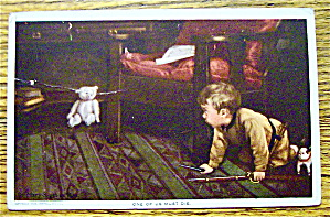 Boy Afraid Of The Teddy Bear Postcard