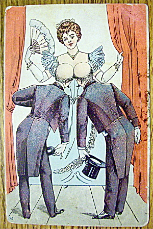 Two Men Bowing To A Woman & Bumping Heads Postcard