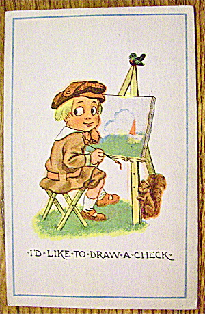 A Boy Doing A Painting Postcard