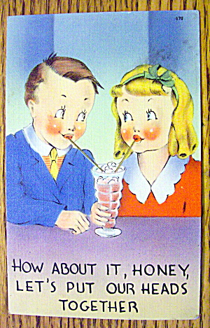 Boy And Girl Sharing A Shake Postcard (Image1)