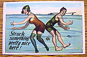 Man And Woman Swimming & Bumping Rears Postcard (Image1)