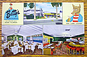 Betty's Restaurant Postcard (Florida)