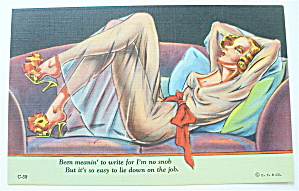 Woman Lying On Sofa Postcard