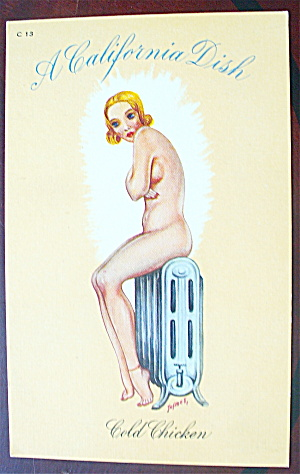 Woman Sitting Nude On Heater Postcard (Cold Chicken)