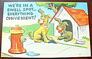 Two Dogs By A Dog House Looking At Hydrant Postcard (Image1)