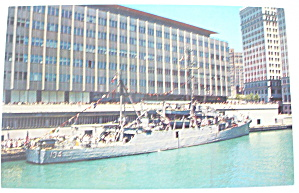 Navy Ship Docked At Sun Times News Building Postcard (Image1)