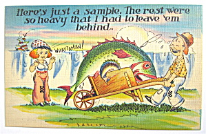 Man With Fish In Wheel-Barrel Showing Wife Postcard (Image1)
