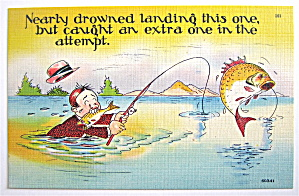 Man In Water Catching A Fish Postcard (Image1)