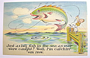 Man Fighting With Big Fish Postcard (Image1)