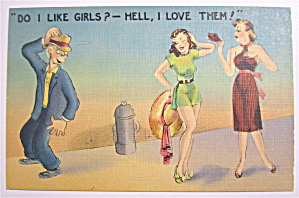 Guy Checking Out Women Postcard (Image1)