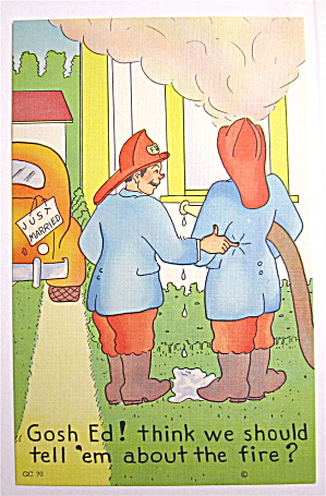 Two Firemen Putting Out Fire Postcard (Image1)