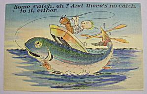 Man Catching A Fish Postcard (Image1)