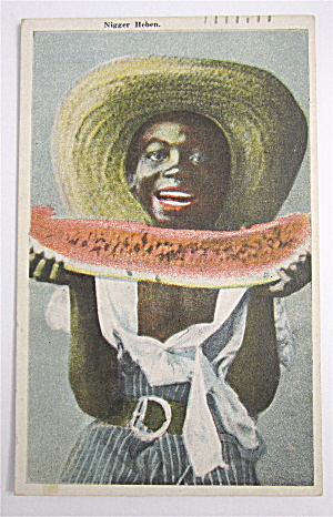 Black Woman Eating Watermelon Postcard