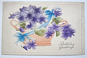 A Basket Of Purple Flowers Postcard (Image1)
