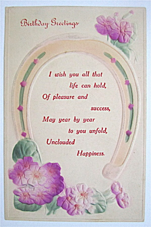 A Horse Shoe Hanging Over Flowers Postcard (Image1)