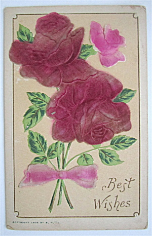 Roses Tied Together With Pink Bow Postcard (Image1)