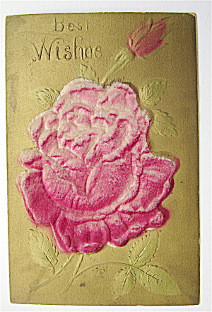 Best Wishes Rose Postcard - Heavily Embossed (Image1)