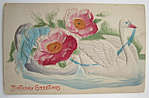 A Goose Swimming While Pulling Flowers Postcard (Image1)