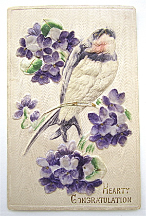 A Bird Sitting On Flowers Postcard (Image1)