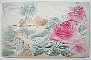 Pink Rose And Little Homes Postcard (Image1)