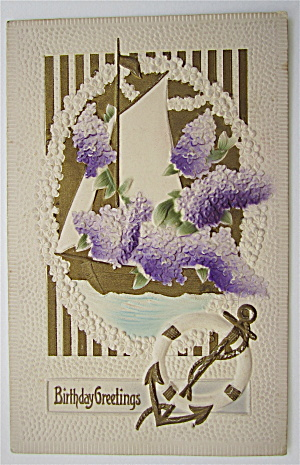 A Sail Boat With Flowers On It Postcard (Image1)