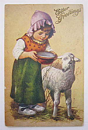 Woman Feeding Goat Postcard (Image1)
