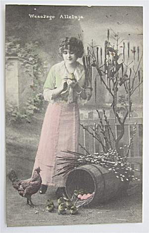 Woman Holding Baby Chick Postcard (Image1)