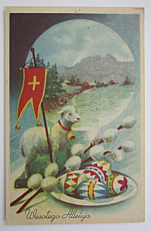 A Sheep Standing By Flag With Cross On It Postcard (Image1)