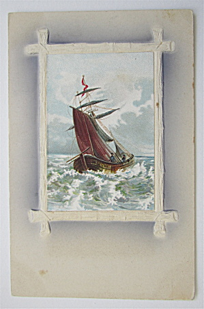 Boat Sailing In Rapid Water Postcard (Image1)