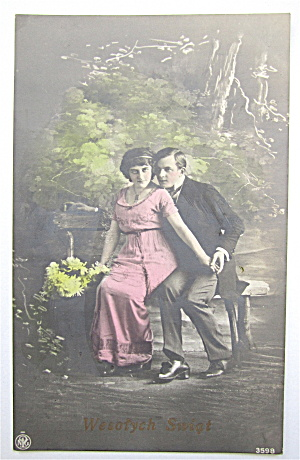 Woman Sitting On Man's Lap Postcard