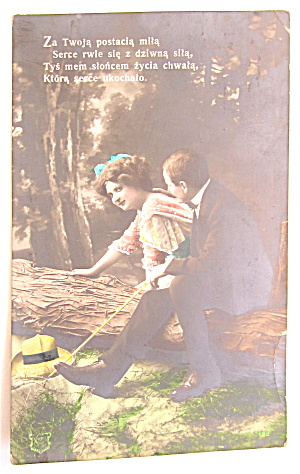 Man And Woman Sitting And Talking Postcard