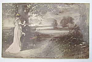 Man And Woman Gazing Into Each Others Eyes Postcard (Image1)