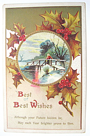 A Woman Walking On Bridge Over River Postcard (Image1)